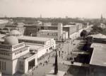 """Blick auf das Ausstellungsgelände der """"Gesolei"""" mit Rheinterrasse, den Bauten am Ehrenhof und das Planetarium, der heutigen Tonhalle. Stadtarchiv Düsseldorf. Foto von 1926."""