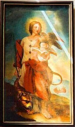 Gemälde des hl. Vitus, auch Veit genannt (frühes 19. Jahrhundert), St. Nikolai-Kirche Höxter. Dargestellt ist der hl. Vitus mit einem Adler, der auf einem Buch sitzt, und einem Löwen, der ihm den Fuß leckt.